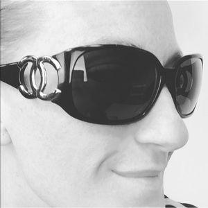 Chanel  Black 6014 Silver Cc Logo Sunglasses